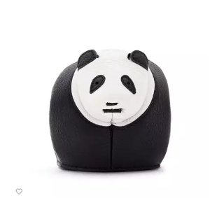 Loewe Leather Panda Coin Purse, Black/White