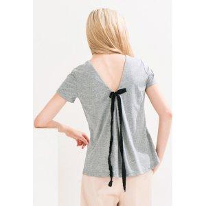 FRS Gray Bow-Tie V-Neck Short SleeveT-Shirt