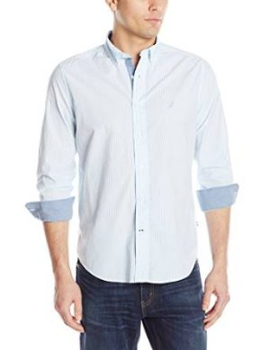Nautica Men's Striped Poplin Shirt, Cool Breeze