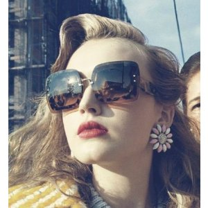 Miu Miu 67MM Glittered Square Layered Sunglasses