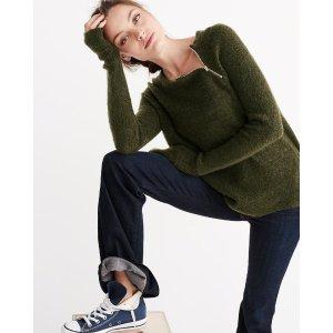 Womens Zip Crew Sweater