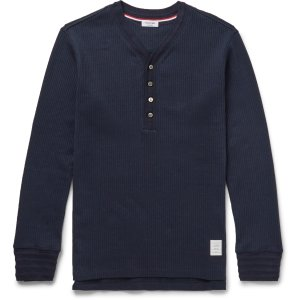 Thom Browne - Ribbed Cotton Henley T-Shirt