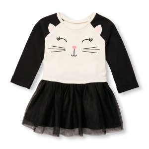 Toddler Girls Rolled Elbow Sleeve Animal Face Dress | The Children's Place