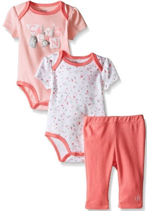 $5.93 Calvin Klein Baby-Girls 2 Printed and Solid Bodysuits and Combed Interlock Pants