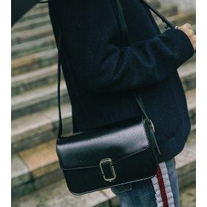Faux Leather Flap Bag