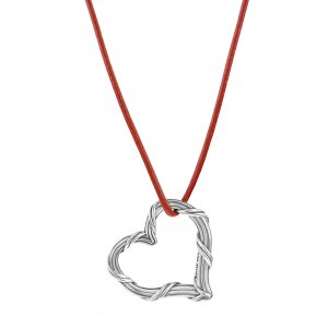 Signature Classic Heart Pendant in sterling silver and red leather
