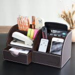 Oak Leaf 6 Compartment Office School Supply Desktop Organizer Storage Box with Drawer