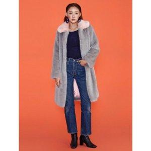 MIDNIGHT CIRCUS Pink Collar Faux Fur Coat