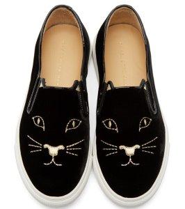 Charlotte Olympia  Black Velvet Kitty Slip-on Sneakers  @ SSENSE