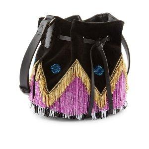 Black Fringe Dahlia Bucket Bag | Les Petits Joueurs | Avenue32