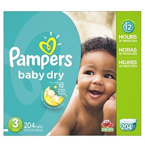 Amazon.com: P&G Pampers Baby Dry Diapers Economy Pack Plus, Size 3, 204 Count: Health & Personal Care
