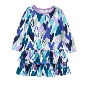 Toddler Girls Scribble Hearts Ruffle Dress by Gymboree
