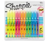 Sharpie Accent Pocket Style Highlighter, Chisel Tip, Assorted Ink, 12 per Set