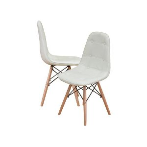Modern Set of Tufted 2 EAMES Style Chair Natural Wood Legs - White - Sofamania
