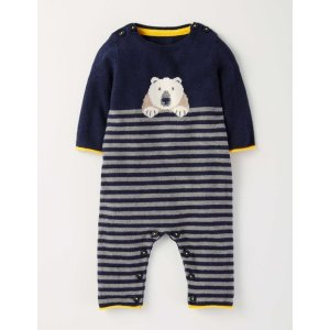 Polar Bear Knitted Romper 70081 Rompers at Boden