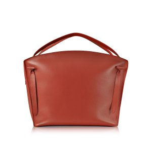 Jil Sander Hill Duo Bright Red Leather Extra Large Handbag at FORZIERI