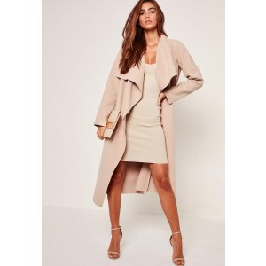 Oversized Waterfall Duster Coat Nude - Missguided