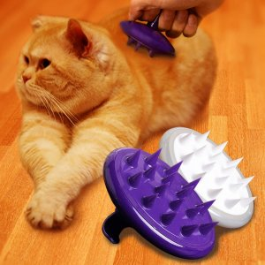 $9.99 2016 New CELEMOON Ultra-Soft Silicone Washable Cat Grooming Shedding Message Bath Brush Hurtless Elastic, Purple