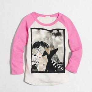 Girls' long-sleeve girl in Paris selfie keepsake T-shirt : keepsake t-shirts | J.Crew Factory