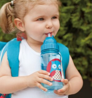 Skip Hop Baby Zoo Little Kid and Toddler Feeding Travel-To-Go Flip Top Straw Bottle, 12 oz