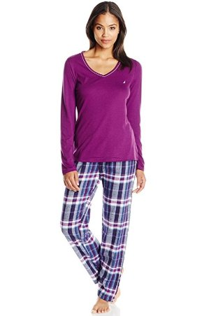 $17.49 Nautica Women's Flannel Pajama Set with Knit Top
