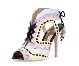 Sophia Webster Riko Colorblock Lace-Up Sandal, Aqua Pastel