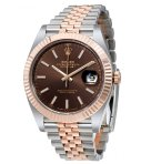 $10350 ROLEX Datejust Chocolate Dial Steel and 18K Everose Gold Jubilee Men's Watch RLX126331CHSJ