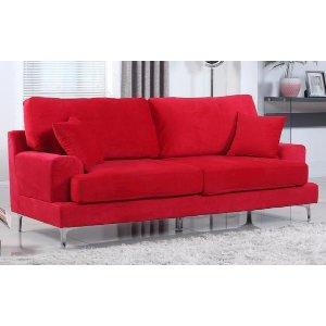 Ultra Modern Plush Velvet Living Room Sofa - Red - Sofamania