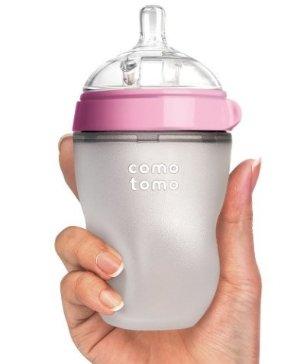 Comotomo Natural Feel Baby Bottle, Pink, 8 Ounces