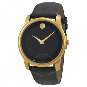 Movado Museum Black Dial Leather Men's Watch 0606876 - Museum - Movado - Watches - Jomashop