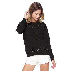 FRENCH TERRY EYELET PULLOVER
