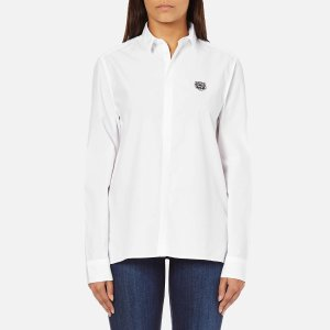 KENZO Women's Shirt with Small Tiger Logo - White - Free UK Delivery over £50