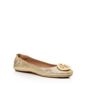 Tory Burch Minnie Metallic Leather Travel Ballet Flats | Bloomingdale's