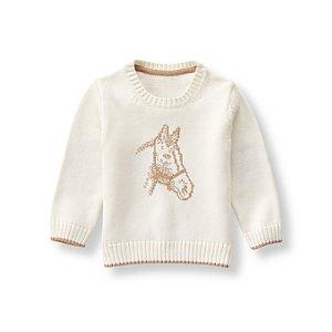 Baby Boy Ivory Horse Sweater at JanieandJack