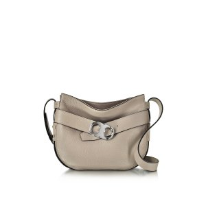 Tory Burch Gemini Link Belted French Gray Leather Small Hobo at FORZIERI