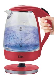 Elite EKT-300R Platinum Cordless Glass Kettle, 1.7 L, Red
