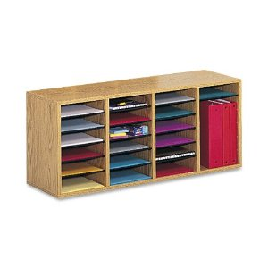 Safco Products 9423MO Wood Adjustable Literature Organizer, 24 Compartment, Oak