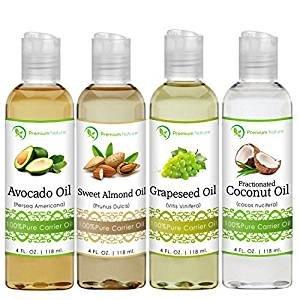All Natural 天然椰子油、蓖麻油、葡萄籽油、牛油果油、甜杏仁油套装(4盎司/118ml)