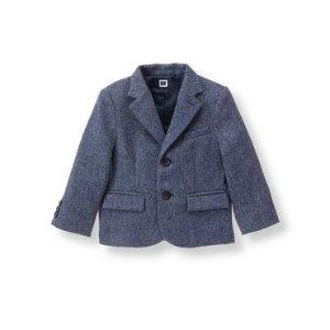 Baby Boy Navy Herringbone Herringbone Suit Blazer at JanieandJack