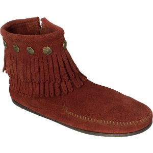 Womens Minnetonka Double Fringe Side Zip Boot - FREE Shipping & Exchanges