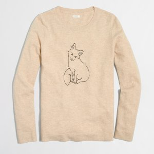 Embroidered fox Teddie sweater : Pullover | J.Crew Factory