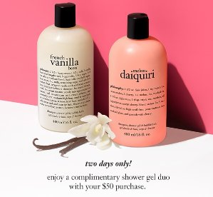 Free Shower Gel DuoWith Any $50 Purchase @ Philosophy