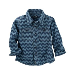 Toddler Boy Chambray Chevron Print Button-Front Shirt | OshKosh.com