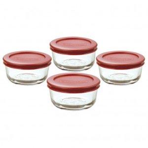 Anchor Hocking 8pc Glass Kitchen Storage w/ Red Lids