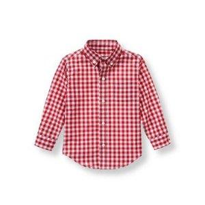 Baby Boy Crimson Plaid Plaid Poplin Shirt at JanieandJack
