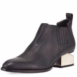 Alexander Wang Kori Tilt-Heel Leather Bootie, Black