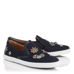 Navy Flannel Slip On Trainers with Embellished Badges | Demi | Autumn Winter 16 | JIMMY CHOO