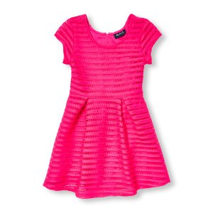 Girls Cap Sleeve Striped Mesh Flare Dress | The Children's Place