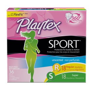 Playtex Sport Tampons with Flex-Fit Technology, Regular and Super Multi-Pack, Unscented - 36 Count