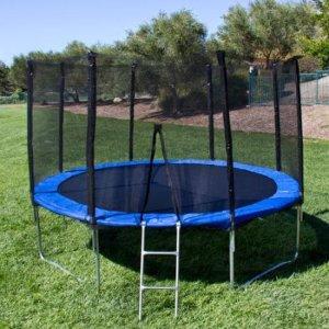 BCP 10' Round Trampoline Set 4 legs W Frame Blue safety Pad Netting & Ladder